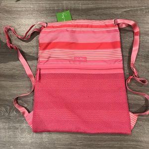 NWT Vera Bradley Lighten Up Pink Striped Backsack